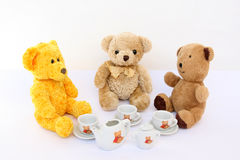 Cup of coffee with teddy bears Royalty Free Stock Images