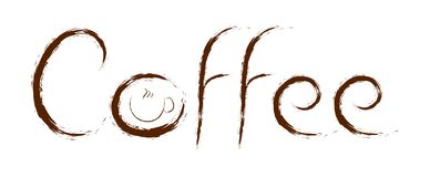 A cup of coffee - text painted with a brush royalty free illustration