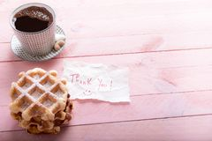 Cup of coffee and thank you note Royalty Free Stock Photo