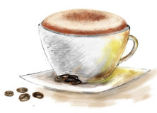 A cup of coffee. There is a cup of coffee with cappuchino latte stock illustration