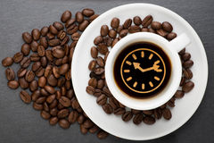 Cup of coffee with time Royalty Free Stock Image