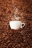 Cup of coffee with toasted beans, still life. Cup of coffee with toasted beans Stock Photography