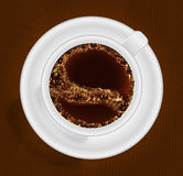 Cup of coffee top view. EPS 10 Stock Photos