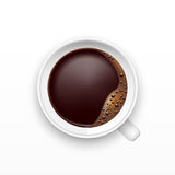 A Cup of Coffee, top view. Realistic vector Royalty Free Stock Photo