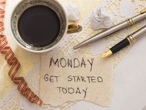 It`s Monday concept. With cup of coffee, top view stock images