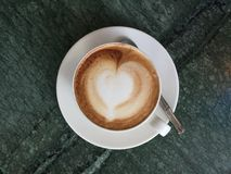 A cup of coffee. A top view shot of a cup of coffee Royalty Free Stock Images