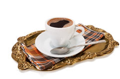 Cup of coffee on a tray Royalty Free Stock Images