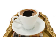 Cup of coffee on a tray Royalty Free Stock Image