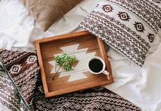 Cup coffee tray green branch bedroom bed. Cup of coffee on a tray with a green branch in the bedroom on the bed royalty free stock photo