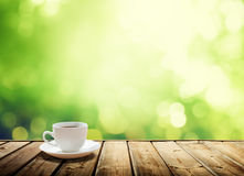 Cup coffee and trees background Stock Images