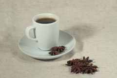 A cup of coffee and truestar anisetree. Against light background Stock Image