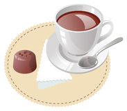 Cup of coffee with truffle Royalty Free Stock Photography