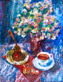 The cup of coffee, the turk, chocolates and flowers Royalty Free Stock Photos