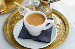 Cup of coffee with turkish delight. Lokum Royalty Free Stock Photo