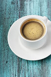 Cup of coffee. Coffee on a turquoise vintage surface Royalty Free Stock Photography