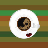 Cup of coffee with two bean vector Royalty Free Stock Images