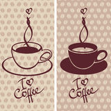 Cup of coffee. Two contrast  illustrations of cup of coffee Royalty Free Stock Image