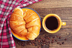 Cup of coffee and two croissant Stock Photography