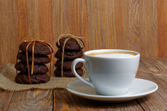 Cup of coffee and two stack of cookies Stock Photos