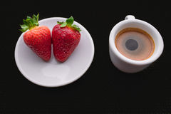 Cup of coffee and two strawberries. On dark chocolate background vector illustration