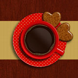 Cup of coffee with two valentines cookies Stock Images