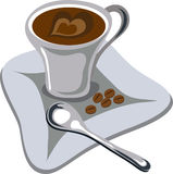 Cup of coffee vector. Vector illustration of cup of coffee on wite background Stock Photography