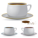 Cup of coffee, vector. Mug of coffee and splash on a white background Stock Illustration