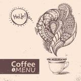 Cup of coffee. Vector illustration. Menu design Stock Image