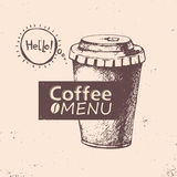 Cup of coffee. Vector illustration. Menu design Royalty Free Stock Image