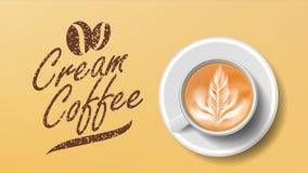 Cup Of Coffee Vector. Orange Background Top View. Cream Coffee Mug. Caffeine Hot Drink. Illustration. Cup Of Coffee Vector. Orange Background Top View. Cream Stock Photos