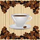 A cup of coffee on vintage background Stock Photography