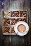 Cup of coffee and vintage box Royalty Free Stock Image