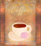 Cup of coffee, vintage card Stock Images