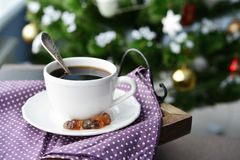 Cup of coffee on vintage tray Royalty Free Stock Photography