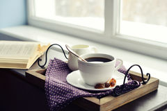 Cup of coffee on vintage tray Stock Photo