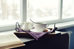 Cup of coffee on vintage tray Stock Image