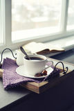 Cup of coffee on vintage tray Royalty Free Stock Photos