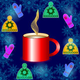 Cup of coffee with warm clothes. In center of hats and mitten a big red cup of coffee for your design Stock Images
