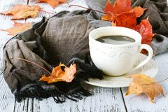 Cup of coffee and a warm scarf on wooden table background. Seasonal, morning coffee, sunday relax concept. Royalty Free Stock Photography