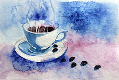 Cup of coffee. Watercolor cup of coffee on blue background Royalty Free Stock Photo