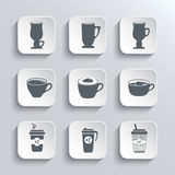 Cup of coffee web icons set in black and white Royalty Free Stock Photo