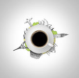 Cup coffee, which is on sketch of drawing seven wonders the world isolated, white background Royalty Free Stock Image