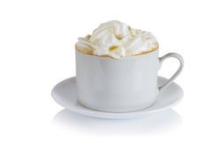 Cup of coffee with whipped cream Stock Images
