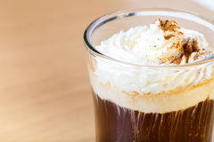 Cup of coffee with whipped creams. Selective focus. Toned Stock Photo
