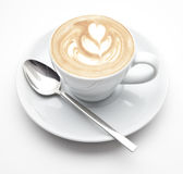 Cup of coffee. A cup of coffee white background Royalty Free Stock Photography