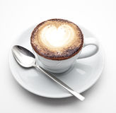 Cup of coffee. A cup of coffee on white background Stock Photos