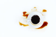 Cup of coffee on white background with stains. Breakfast. Stock Photo