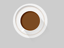 Flat cup of coffee. White cup with black coffee Stock Photography