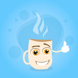 Cup Coffee White Cartoon Character Smile Concept Stock Photo