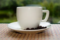 Cup of coffee. White cup of coffe, Czech republic royalty free stock image